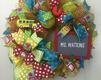 School Wreath, Back to School Wreath, Deco Mesh School Wreath