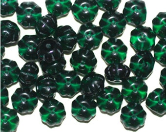 Emerald Blossom Czech Pressed Glass Beads 6mm (pack of 50)