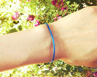 Choose Color: Single Adjustable Double Knot sliding minimalist satin thread cord dainty woven bracelet Simple layering