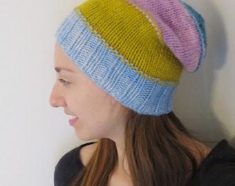 Slouchy Hat, teen - adult, merino wool, colorblock, handknit
