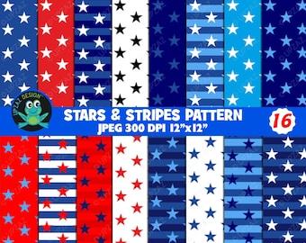 Stars and Stripes Patriotic Digital Papers - UZDP927
