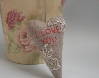 Valentine Heart  Ornament.Rustik Fabric Hanging  Heart.Home decor