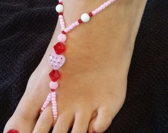 Pink and Red Heart  Barefoot Sandals (Large)