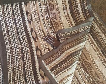 ADRIENNE VITTADINI animal print, snake skin silk scarf in brown and cream