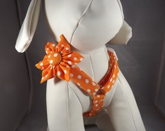 Orange Dog Harness, Cat Harness, Step in Harness, polka dot adjustable harness, Pick Size and fabric, harness flower or bow tie included