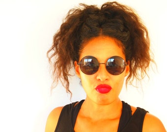 Black Hippie Style 70s Sunglasses (UV 400)