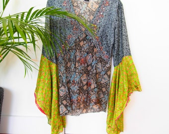Indian Cotton Bohemian Bell Sleeve Top