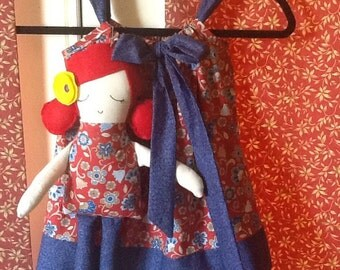 Red Pillow Case Dress with Matching Valentine Doll