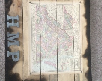 Vintage State Map Wall Hanging