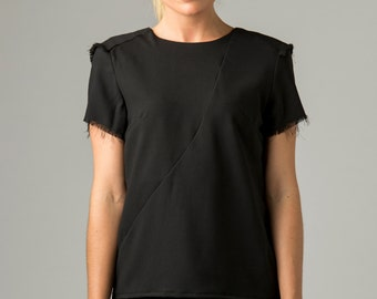 FRAYED CADET TOP | In Black | Womens Blouse