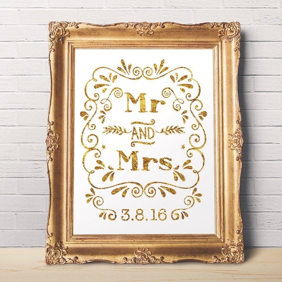 Wedding Gifts Mr And Mrs: Items Similar To Mr And Mrs Wedding Art To Print