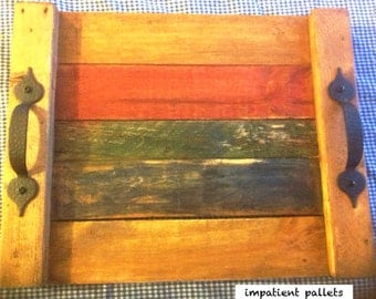 Handmade recycled pallet serving tray with handles