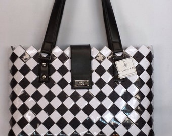Weaved Tote Black and White Check