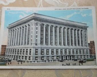 City Hall Chicago Illinois Vintage Postcard 1920s Used