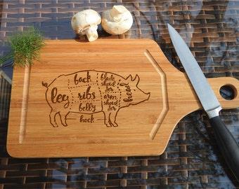 ikb322 Personalized Cutting Board Wood pig pork butchering meat restaurant kitchen