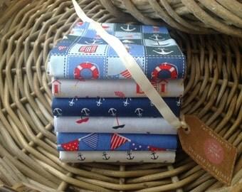Fabric Bundle 6 Fat Quarters Nautical 100% Cotton Patchwork Quilting Crafts