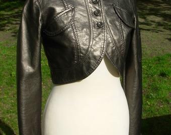 Steampunk Bolero Leather Waist Jacket bronze 34 XS