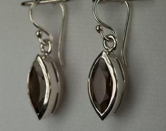 B001-003-002 Handmade Sterling Silver Hoop Earrings Smokey Quartz November Birthstone