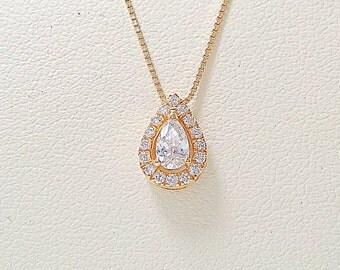 Diamond necklace,halo birthday,halo necklace,diamond halo necklace,halo pendant,pear diamond pendant,