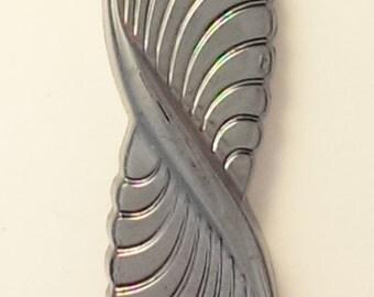 Hematite Glass Cabochon, Twisted Feather shape