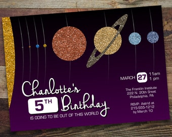 Printable, DIY Glittery Solar System / Astronomy Birthday Party (SL001)