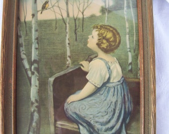 Framed Vintage Victorian Era Print, Young Girl with Robin