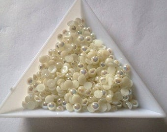 4mm half round flatback pearls x 400 Ivory  great for all crafts, scrap booking card making beads bling