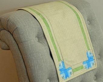 Blue Corner Flower Table Runner Quilt
