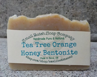 Tea Tree, Orange, Honey, Bentonite Soap, All Natural Soap, Handmade Soap, Cold Process Soap, Honey Soap, Tea Tree Soap, Palm Free Soap, Clay