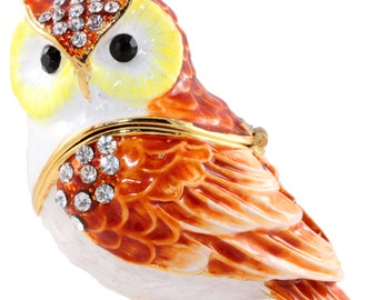 OWL jewelry casket pills box jewelry box collectible decoration Strass new