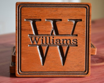 Personalized Wood Coasters, Wood Coasters, Drink Coasters, Monogram Coasters