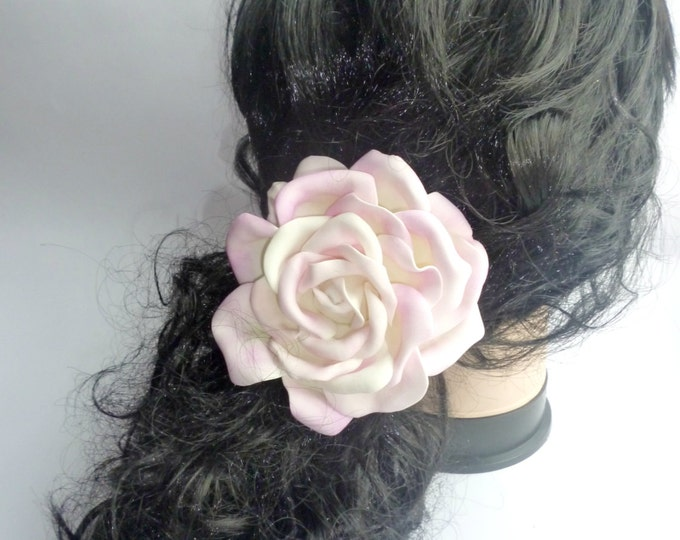 Scrunchy Ivory Pink Flowers Elastics Flower barrette Hair Ties Flower Pin Prom Wedding Mom Event Flowers Big rose handmade gift for her girl