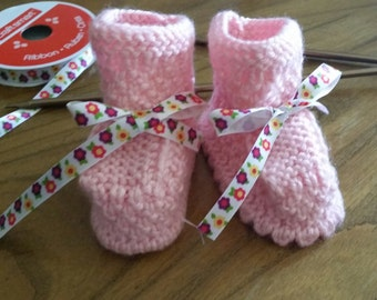 Knitted baby booties for girl,size 3-6 months