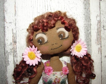 Merryweather, rag doll (doll, doll, ooak doll art doll handmade rag)