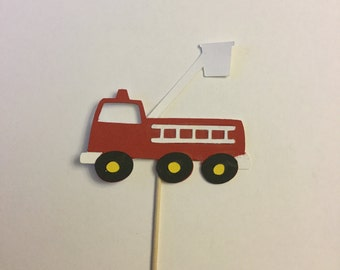 Set of 12 Firetruck cupcake toppers, fire hydrant, fire