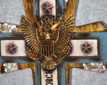 "DECORATIVE CROSS, MILITARY cross 9"" x 14"", handmade  cross, wooden cross."