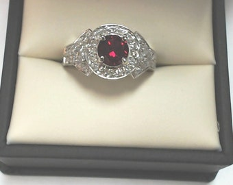Stuning Vintage look Ruby and Diamond Ring in 14k White Gold