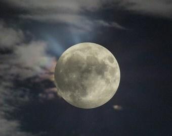 Moon & Clouds Moonlight Night Lunar Art Image Artful Artwork Mix Photo