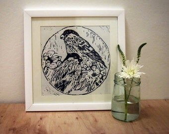 Bullfinch Lino Cut Print