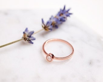 Sterling Silver Ring,925 Sterling Silver Stacking Ring,Rose Gold Ring,Stacking Ring,Simple Ring,Layered Ring,4mm CZ Ring,Anniversary Gift