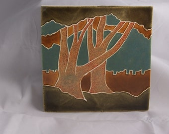 "Ceramic 6""  art tile- Two Trees-old copper"