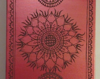 Henna Style Mandala Flower with Red and Gold Background