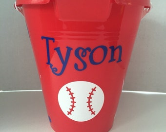 Custom Baseball Beach Bucket/ Beach Pail/ Sand Bucket/ Sand Pail/ Beach buckets for boys/ baseball boys bucket/ sand pail for boys/ buckets