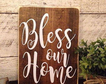 Bless our home | rustic wall decor | bless our home wooden sign | signs for the home | Housewarming gift | First home