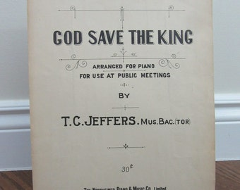 1910(?) God Save the King Sheet Music by T.C. Jeffers