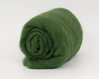 DarkOlive B154 Carded Wool Batt 26mic  1.77oz (50gr) Felting wool, for spinning and needle felting.  100% wool.