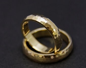 Hammered wedding rings/wedding rings made of 585 gold (yellow gold)