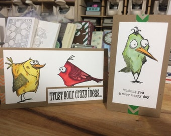 Fun Crazy bird cards  all shapes and sizes