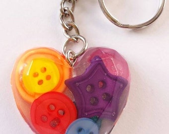 Heart and button keyring resin