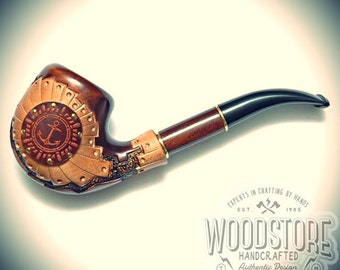 "Handcrafted tobacco pipe - ""Anchor"" wooden smoking pipe, wood pipe"